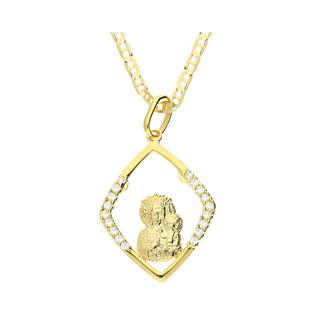 Złoty medalik MB Częstochowska z dopasowanym łańcuszkiem M2 M-1167-M-08+RBPDECO 050 9K próba 333