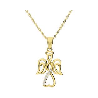 Złoty medalik Aniołek z dopasowanym łańcuszkiem M2 VXXCP2997-FCZ+G2SIN 017 próba 585