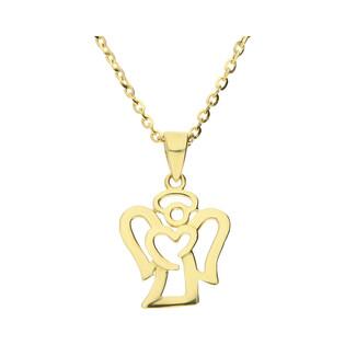 Złoty medalik Aniołek z dopasowanym łańcuszkiem M2 X3P10081+RDOV 035 9K próba 333