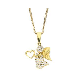 Złoty medalik Anioł z sercem z dopasowanym łańcuszkiem M2 18-3791+SPG3D 022 próba 585