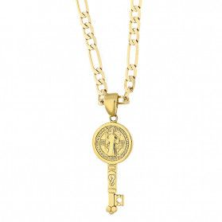 Złoty medalik klucz Benedyktyński z dopasowanym łańcuszkiem M2 10180+GAXPDE 1+3 050 L50 9K