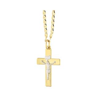 Złoty krzyżyk łaciński z dopasowanym łańcuszkiem nr M2 C-603+FPBCGDE 050 próba 585