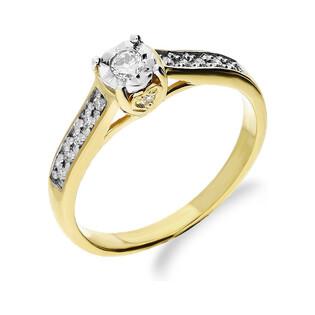 Złoty pierścionek zaręczynowy z diamentem typu SOLITER Magic bis DI t348-05 próba 585 Sezam - 1