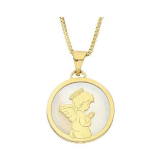 Złoty medalik z Aniołkiem z dopasowanym łańcuszkiem M2 129-LP02+VEDCO 058 próba 585
