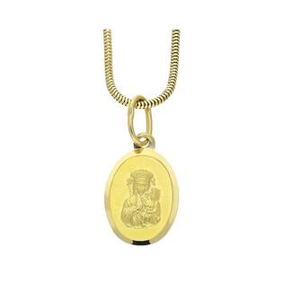 Złoty medalik MB Częstochowska z dopasowanym łańcuszkiem M2 DJ105+1486-140 próba 585