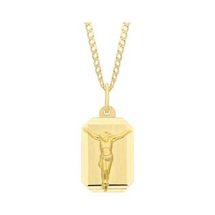 Złoty medalik blaszka Pan Jezus z dopasowanym łańcuszkiem M2 DJ111+GAXPDE 0+1 040 próba 585