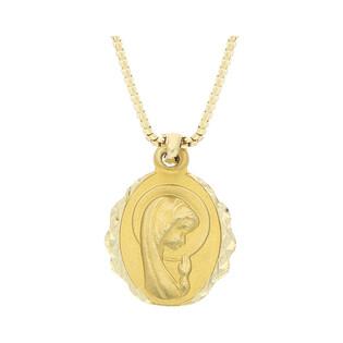 Złoty medalik MB główka Modląca z dopasowanym łańcuszkiem M2 GS40+VEDCO 058 próba 585