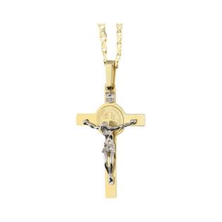 Złoty krzyżyk św. Benedykta z dopasowanym łańcuszkiem M2 H-010+FPBCGDE 065 próba 375