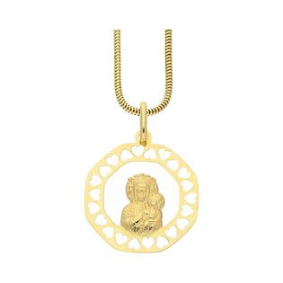 Złoty medalik MB Częstochowska z dopasowanym łańcuszkiem M2 KM663+1486-120 próba 585