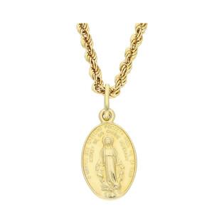Złoty medalik MB Niepokalana z dopasowanym łańcuszkiem M2 M-010+VCORDALAS 040 próba 585
