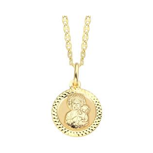 Złoty medalik MB Częstochowska z dopasowanym łańcuszkiem M2 M-0597+FPBCGDE 040 próba 585