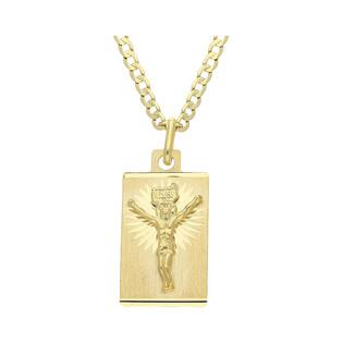 Złoty medalik blaszka Pan Jezus z dopasowanym łańcuszkiem M2 M-0639+GAXPDE 0+1 050 L50 próba 585