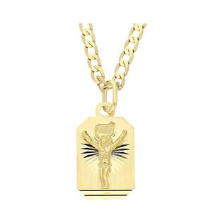 Złoty medalik blaszka Pan Jezus z dopasowanym łańcuszkiem M2 M-0640+GAXPDE 0+1 065 próba 585