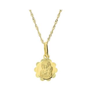 Złoty medalik MB Częstochowska z dopasowanym łańcuszkiem M2 M-0833+G2SIN 017 9K