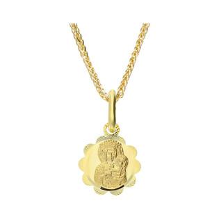 Złoty medalik MB Częstochowska z dopasowanym łańcuszkiem M2 M-0833+SPG3D 022 próba 585