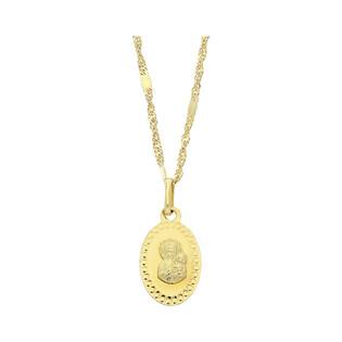 Złoty medalik MB Częstochowska z dopasowanym łańcuszkiem M2 M-1200+G2SD 025+blaszka próba 585