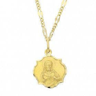 Złoty medalik Szkaplerz z dopasowanym łańcuszkiem M2 OP59a+GADEBC 1+3 040 próba 585