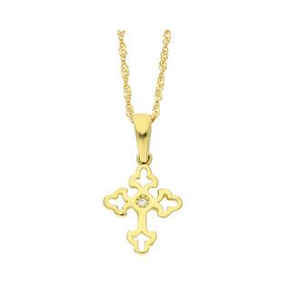 Złoty krzyżyk trójlistny z dopasowanym łańcuszkiem M2 S7KU17000022+G2SIN 017 próba 585