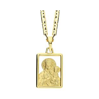 Złoty medalik MB Częstochowska z dopasowanym łańcuszkiem M2 SF12-1m+RBPDECO 065 próba 585