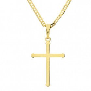 Złoty krzyżyk łaciński z dopasowanym łańcuszkiem M2 VX3LKP1244-III+RBPDECO 050 9K