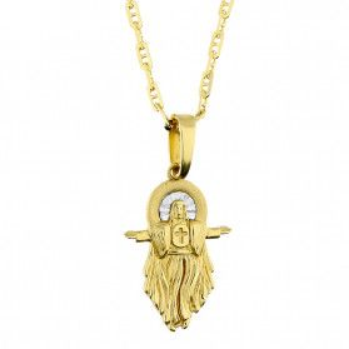 Złoty medalik Pan Jezus z dopasowanym łańcuszkiem M2 XXP211055-FL+1421-065 14K