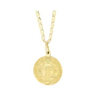 Złoty medalik Benedyktyński z dopasowanym łańcuszkiem M2 M074-2+FPBCGDE 065 próba 585