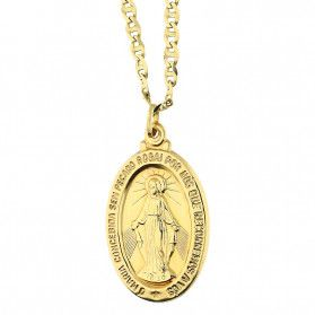 Złoty medalik Niepokalana z dopasowanym łańcuszkiem M2 M-0924+FPBCGDE 080 próba 585