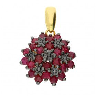 Zawieszka złota z czarnymi diamentami i rubinami DI 507-rubin-bd próba 585