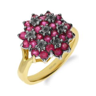 Pierścionek zaręczynowy z czarnymi brylantami i rubinami DI 507-rubin-bd próba 585 BRIDELL