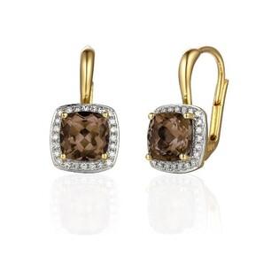 Kolczyki złote z diamentem i kwarcem dymnym nr AW 62906 Y-CH kwadrat Sezam - 1
