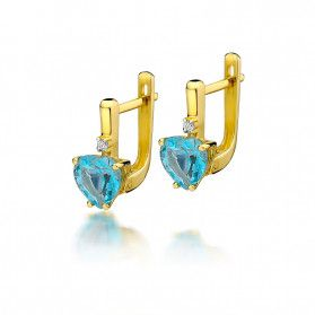 Kolczyki złote z diamentami i topazem zapięcie angielskie nr BE KO-2 do W-12 próba 585
