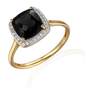 Pierścionek z diamentami i Agatem czarnym AW 62906 Y-AGA kwadrat próba 585