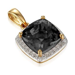 Zawieszka złota z diamentami i agatem czarnym AW 62906 Y-AGA kwadrat próba 585