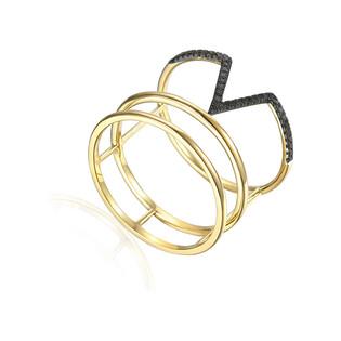 Pierścionek złoty RINGS+V z czarnymi brylantami AW 75528 Y próba 585
