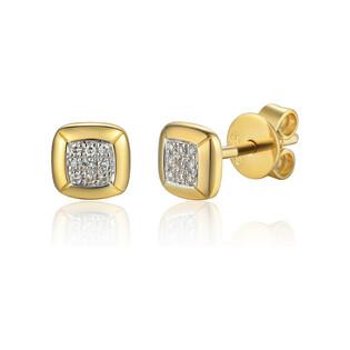 Kolczyki złote kwadrat z białymi diamentami/sztyft AW 79607-08922 Y próba 585