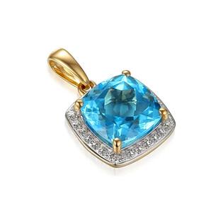 Zawieszka złota topaz blue z brylantami AW 58266 YW-TO kwadrat próba 585