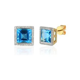 Kolczyki złoty topaz blue z brylantami/sztyft AW 58266 YW-TO kwadrat próba 585