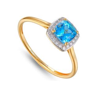 Pierścionek złoty topaz blue z brylantami AW 58266 YW-TO kwadrat próba 585