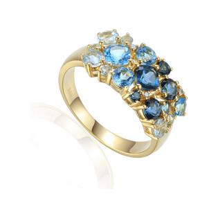 Pierścionek złoty topaz blue i brylanty AW 79249 Y próba 585