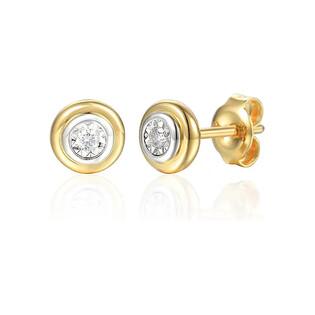 Kolczyki złote kółko z diamentami AW 79603-08920 YW próba 585