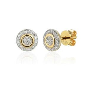 Kolczyki złote kółka z białymi diamentami/sztyft AW 71726-08916 YW próba 585