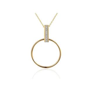 Naszyjnik złoty LINE kółko z prostokątem z diamentami/rolo AW 74869-07908 YW próba 585