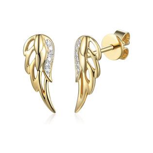 Kolczyki złote skrzydło z diamentami/sztyft AW 79530-08859 YW skrzydło próba 585