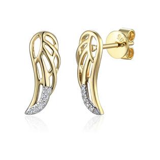 Kolczyki złote skrzydło z diamentami/sztyft AW 79528-08856 YW skrzydło próba 585