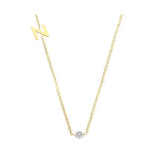 Naszyjnik złoty literka N i diament DI 5-N-06 próba 585