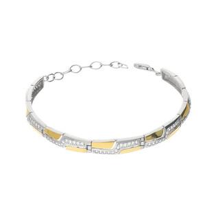 Bransoleta prostokąty z cyrkoniami i złotymi blaszkami 4ł PX 165_AU375 blaszka gold