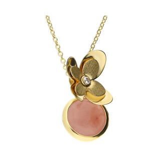 Naszyjnik złoty kwiatek z cyrkonią i kółko z różowym agatem FL-016 próba 585