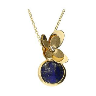 Naszyjnik złoty kwiatek z cyrkonią i lapis lazuli FL-015 próba 585