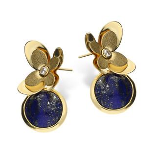 Kolczyki złote kwiatek z cyrkonią i lapis lazuli/sztyft S FL-015 próba 585