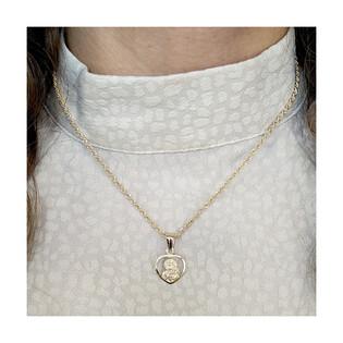 Złoty medalik MB Częstochowska z dopasowanym łańcuszkiem M2 DJ109-1+COV 038 próba 585